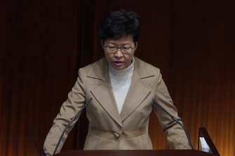 Hong Kong Chief Executive Carrie Lam addresses Hong Kong's Legislative Council.