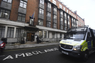 Police outside King Edward VII's Hospital, in London, where Prince Philip has been admitted.