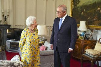 Queen Elizabeth II receives Australian Prime Minister Scott Morrison during an audience in the Oak Room at Windsor Castle.