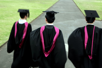 Almost half of international enrolments at universities are concentrated in commerce.
