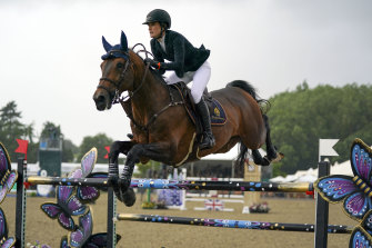 Jessica Springsteen and Don Juan van de Donkhoeve compete in England earlier this month.