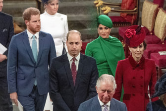 Prince Harry and Meghan Duchess of Sussex, Prince William and Kate, Duchess of Cambridge, with Prince Charles, front, at Westminster Abbey in London in March 2020.