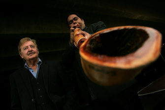William Barton with the late Peter Sculthorpe in 2005; the composer created a number of works for the musician.