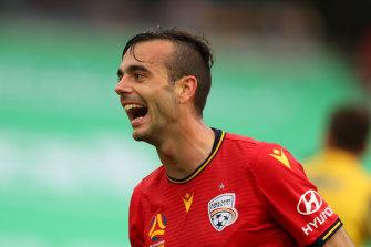 Nikola Mileusnic after scoring for Adelaide United.