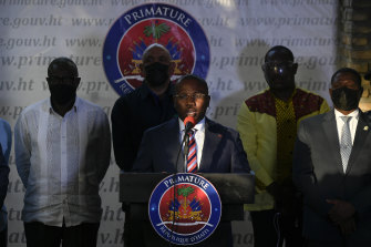 Interim President Claude Joseph speaks during a news conference at his residence in Port-au-Prince, Haiti, four days after the assassination of Haitian President Jovenel Moise.