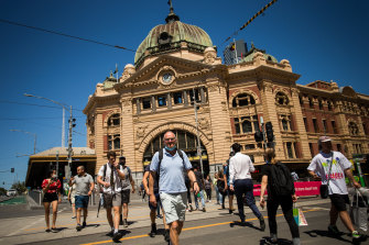 Melburnians re-emerge from lockdown into a sun-drenched city on Thursday.