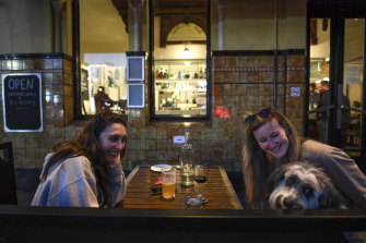 Friends Kate Larkin and Laura Day have a night out before Melbourne goes into lockdown.