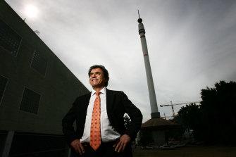 Brisbane identity Stefan Ackerie with the Skyneedle in 2008.