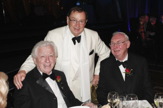 Harold Mitchell with Frank Lowy and Charles Goode at his 70th birthday party.