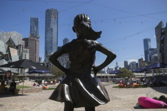 The Fearless Girl statue in Federation  Square, a copy of the New York original by Kristen Visbal, is a symbol of the kind of strength and resilience we are seeing from Australian girls.