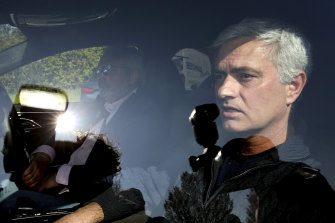 Jose Mourinho leaves Tottenham's training ground in London. Spurs fired Mourinho after only 17 months in charge.