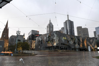An empty Federation Square in central Melbourne.