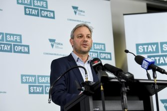 Chief Health Officer Brett Sutton addresses the media about a new coronavirus case in Victoria on Tuesday.