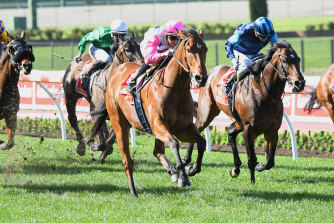 The Inferno takes the McEwen Stakes at Moonee Valley.