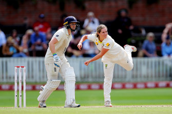 England's Heather Knight, left, and Australia's Sophie Molineux, right, in action on day three of the Women's Ashes Test.