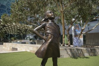 The Fearless Girl Statue in Federation Square.