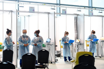 The COVID-19 vaccination hub at Melbourne Airport, run by Western Health, opened on Monday.