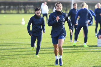 Sam Kerr is poised to make her long-awaited debut for Chelsea on Sunday night.