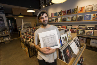 Owner of Polyester Records Simon Karis. The store in Fitzroy is closing its doors after nearly 40 years.