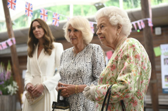 The Queen, Camilla, Duchess of Cornwall, and Kate, Duchess of Cambridge, at a lunch at the G7.