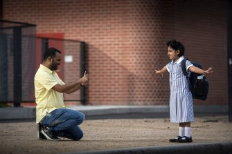 Proud Dad Ankush Dev with his daughter Anvika at Docklands Primary School.
