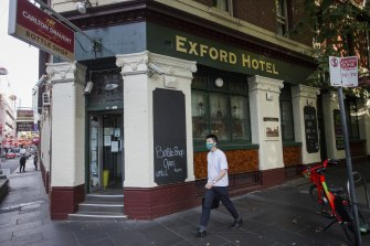 The Exford Hotel on Russell Street was the infected man's first port of call.