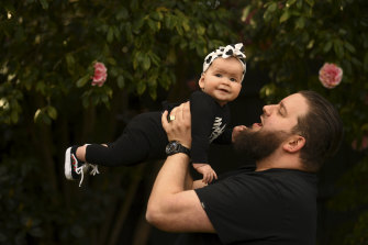 Jeremy Prince, with his six-month-old daughter Poppy, says one upside of lockdown has been spending more time with her.