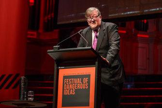 Stephen Fry at the 2018 Festival of Dangerous Ideas.