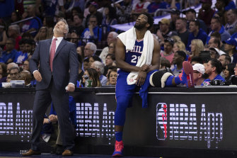 Eye on the ball: Boomers and Philadelphia 76ers  coach Brett Brown, left, is set to balance his Olympic and NBA duties next year.
