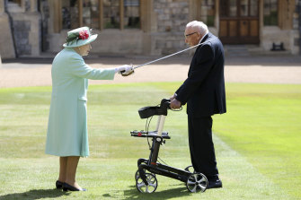 Captain Tom Moore was knighthood by the Queen at Windsor Castle on July 17 last year.
