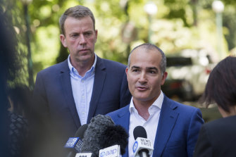 Victorian Education Minister James Merlino announcing the exemption with federal Education Minister Dan Tehan on Saturday.