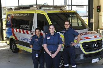 Paramedics Bianca Jackson, Lindsay Mackay and Matt MacDonald.
