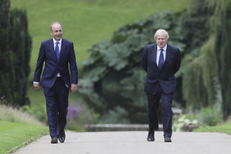 Ireland's Priminister Michael Martin with Birtain's Boris Johnson, back in August 2020: both countries eschewed tough border restrictions during coronavirus surges.