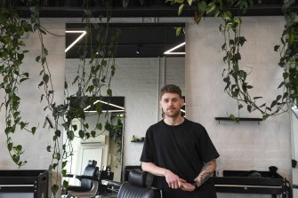 Mark Drake at Paragon Studio in Armadale where he is training to be a barber.