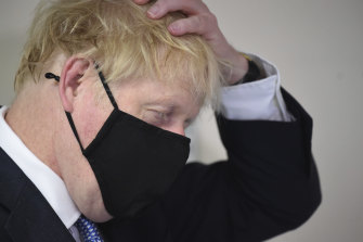 Prime Minister Boris Johnson during a visit to Tollgate Medical Centre in Beckton, east London on Friday.