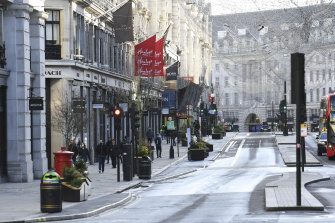 An almost deserted Regent Street in London in the days before Christmas.