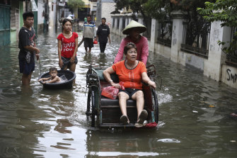 Parts of Jakarta were submerged following the rain.