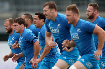 The All Blacks run through drills on Tuesday.