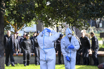 The scene at the North Melbourne public housing apartment towers where residents were locked down due to the COVID-19 pandemic.