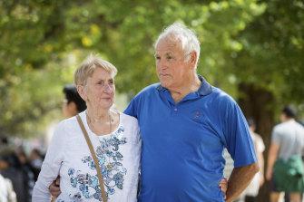 Not fazed: Bev Stevens, left, and husband John, enjoying Moomba.
