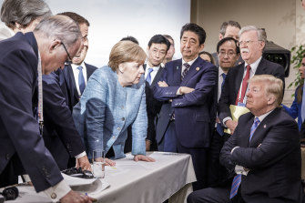 Angela Merkel deals with Donald Trump at the G20 summit in Canada in 2018.
