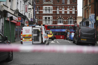 The scene of an apparent terror attack in Streatham, south London, on Sunday.