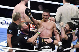 Tim Tszyu celebrates after defeating Jeff Horn.