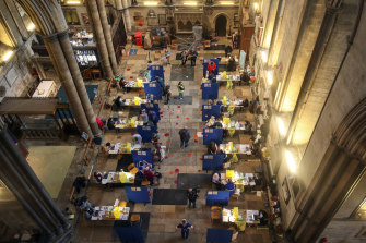 A mass vaccination centre set up  inside Salisbury Cathedral in England in January.