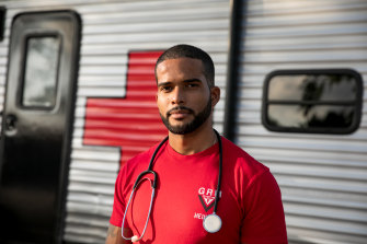 Dr Dairon Elisondo Rojas, a doctor from Cuba, at a migrant camp in Matamoros, Mexico, awaiting a visa to the US.