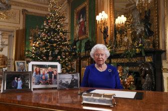Queen Elizabeth II poses for a photo while recording her annual Christmas Day message at Windsor Castle.