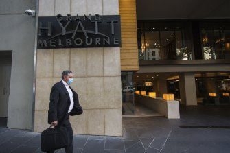 Melbourne's Grand Hyatt hotel, where a positive COVID-19 case worked late last month while Australian Open competitors were in quarantine.