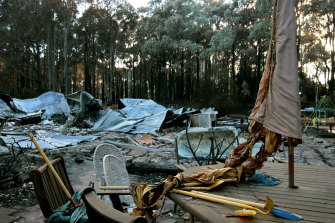 A home destroyed in the 2009 Kinglake fire. A class action for victims of the fire resulted in an almost $500 million payout without the support of a litigation funder.