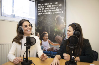The Duchess of Cambridge recording the Happy Mum, Happy Baby podcast.