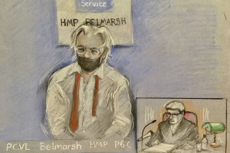 A sketch of Julian Assange, left, as he appeared via video link at the High Court in London.